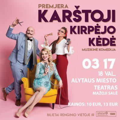 Muzikinė komedija KARŠTOJI KIRPĖJO KĖDĖ su Neringa Nekrašiūte ir Ramūnu Šimukausku
